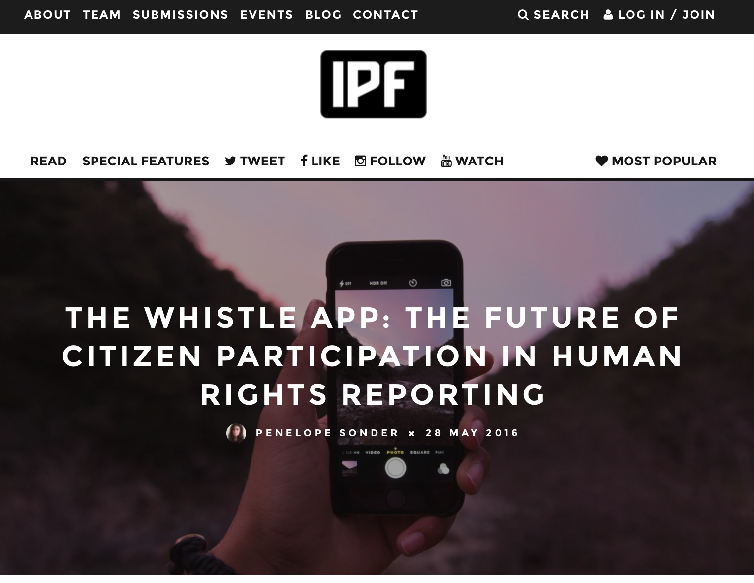 The Whistle featured in IPF article